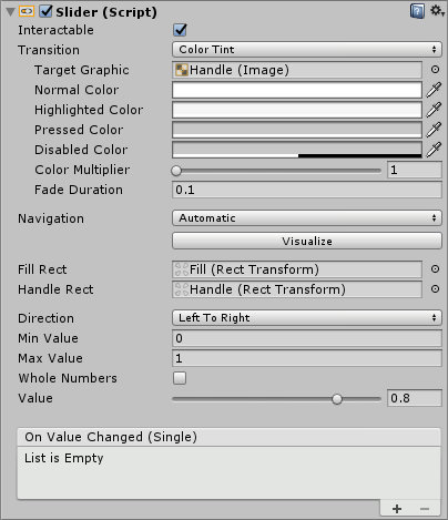 Unity Default Slider Inspector