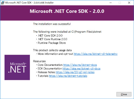 Microsoft .NET Core SDK 2.0.0 Installer