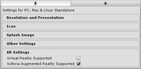Unity Player Settings - Vuroria Augumented Reality Support