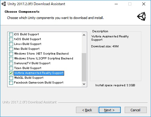 UnityDownloadAssistant 2017.2.0f3 Choose Components - Vuroria Augumented Reality Support